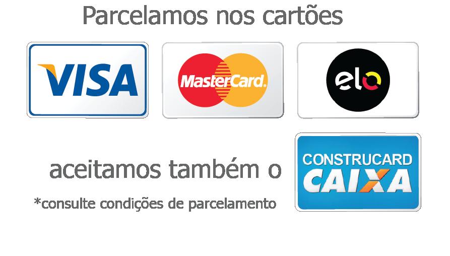 Aceitamos cartões de crédito e débito